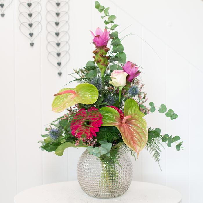 Blumen international, Anthurie, Gerbera, Kurkuma, Rose