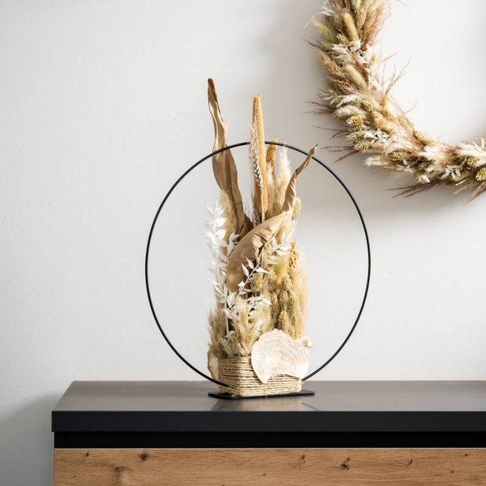Dekoring mit Standfuß, Eliah Trockenblumen Dekoration mit schwarzem Dekoring